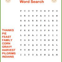 Easy Thanksgiving Word Search