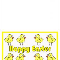 Printable Eight Yellow Chicks - Printable Easter Cards - Free Printable Cards