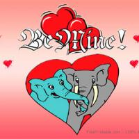 Elephants Themed Valentine Postcards