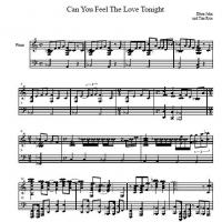 Printable Elton John - Can You Feel The Love Tonight - Printable Piano Music - Free Printable Music