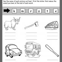 Printable Ending Consonants Review - Printable Kindergarten Worksheets and Lessons - Free Printable Worksheets