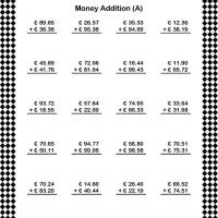 Printable Euro Addition Worksheet - Printable Classroom Lessons - Free Printable Lessons