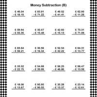 Printable Euro Subtraction Worksheet - Printable Classroom Lessons - Free Printable Lessons