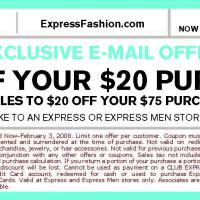 Express $10 Off on Purchases of $20 and Up