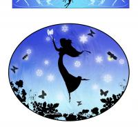 Printable Fairy with Blue Background Iron-on Transfer - Printable Templates - Free Printable Activities