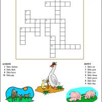 Printable Farm Animals And Their Babies - Printable Crosswords - Free Printable Games
