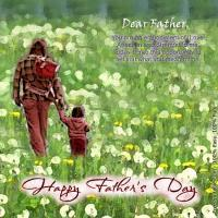 Father And Child On Field Of Flowers