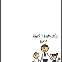 Printable Father with Kids - Printable Fathers Day Cards - Free Printable Cards