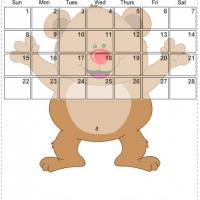 Printable February 2009 Bear Birthday Calendar - Printable Monthly Calendars - Free Printable Calendars
