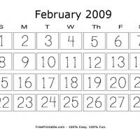 Printable February 2009 Writing Calendar - Printable Calendar Pages - Free Printable Calendars