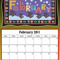 February 2011 Colorful Designed Calendar