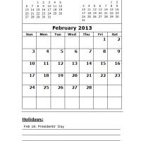 February 2013 Calendar with Holidays