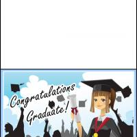Printable Female Graduate Holding Diploma - Printable Graduation Cards - Free Printable Cards