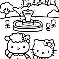 Printable Fifi and Hello Kitty In the Garden - Printable Hello Kitty - Free Printable Coloring Pages