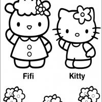 Printable Fifi and Hello Kitty - Printable Hello Kitty - Free Printable Coloring Pages