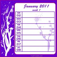 Floral 2011 Week 1 Calendar