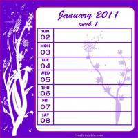 Floral 2011 Week 1 Calendar