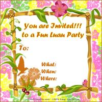 Printable Floral Luau Party Invitations - Printable Party Invitation Cards - Free Printable Invitations