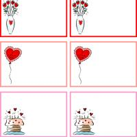 Printable Flower, Balloon and Cake for Valentine's Day - Printable Gift Cards - Free Printable Cards