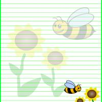 Flowers and Bee Stationary