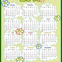 Printable Flowers and Grass 2013 Calendar - Printable Yearly Calendar - Free Printable Calendars
