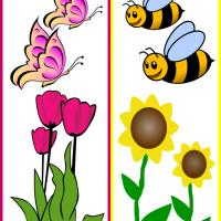 Printable Flowers, Butterflies and Bees - Printable Bookmarks - Free Printable Crafts