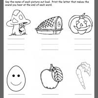 Printable Nutrition Ending Consonants Review - Printable Kindergarten Worksheets and Lessons - Free Printable Worksheets