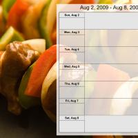 Printable Food Themed Weekly Planner Aug 2 to Aug 8 2009 - Printable Weekly Calendar - Free Printable Calendars