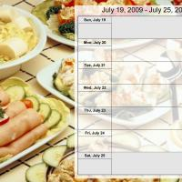 Printable Food Themed Weekly Planner July 19 to July 25 2009 - Printable Weekly Calendar - Free Printable Calendars