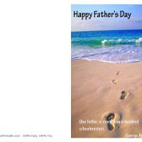 Printable Footprints in the Sand Father's Day Greeting - Printable Fathers Day Cards - Free Printable Cards