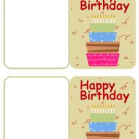 Printable Four Layer Birthday Cake - Printable Gift Cards - Free Printable Cards