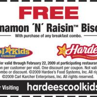 Hardees Free Cinnamon N' Raisin