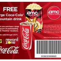 Free Large Coke when you Buy a Large Popcorn at AMC Theatres