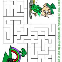Printable Friendly Leprechaun Looking for Pot of Gold Maze - Printable Mazes - Free Printable Games