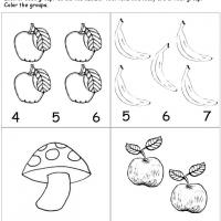 Printable Fruits Count the Group - Free Printable Math Worksheets - Free Printable Worksheets