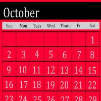 Printable Fuchsia October 2011 Calendar - Printable Monthly Calendars - Free Printable Calendars