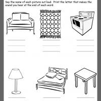 Printable Furniture Ending Consonants Review - Printable Kindergarten Worksheets and Lessons - Free Printable Worksheets