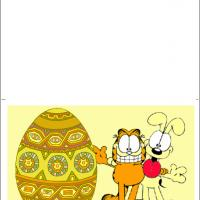 Printable Garfield And Odie Painting Easter Eggs - Printable Easter Cards - Free Printable Cards