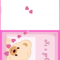 Printable Girl Baby Bear - Printable Baby Cards - Free Printable Cards