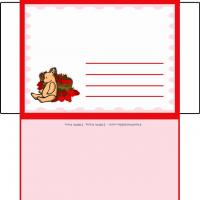 Girl Bear With Strawberries Envelope