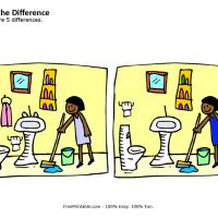 Printable Girl Cleaning Spot the Differences - Printable Brain Teasers - Free Printable Games