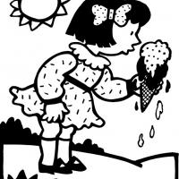 Printable Girl Eating Ice Cream - Printable Coloring Sheets - Free Printable Coloring Pages