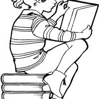 Printable Girl Reading on Stack of Books - Printable Coloring Sheets - Free Printable Coloring Pages