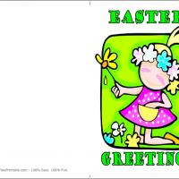 Printable Girl With Colorful Flowers - Printable Easter Cards - Free Printable Cards