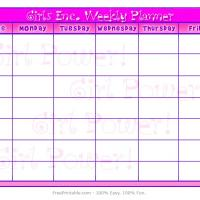Printable Girls Inc Weekly Planner - Printable Weekly Calendar - Free Printable Calendars