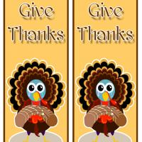 Printable Give Thanks Turkey - Printable Bookmarks - Free Printable Crafts