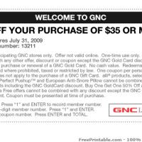 Printable GNC $5 OFF Purchase $35 Or More - Printable Discount Coupons - Free Printable Coupons
