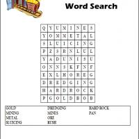 Printable Gold Mining Word Search - Printable Word Search - Free Printable Games