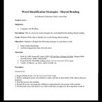 Grade 1 Language: Word Identification Strategies