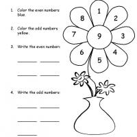 Grade 1 Math- Color the Flower Odd & Even